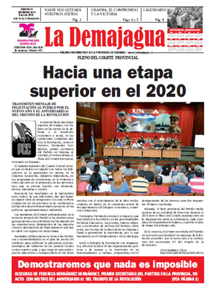 Edición impresa 1471 del semanario La Demajagua, sábado 28 de diciembre de 2019