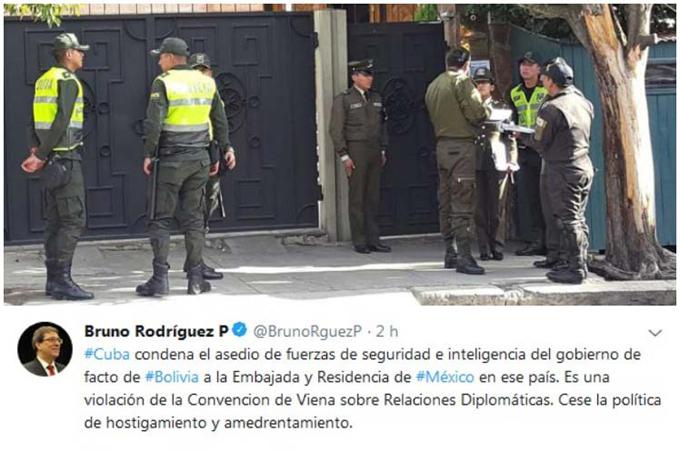 Exige Cuba cese de hostigamiento a embajada de México en Bolivia