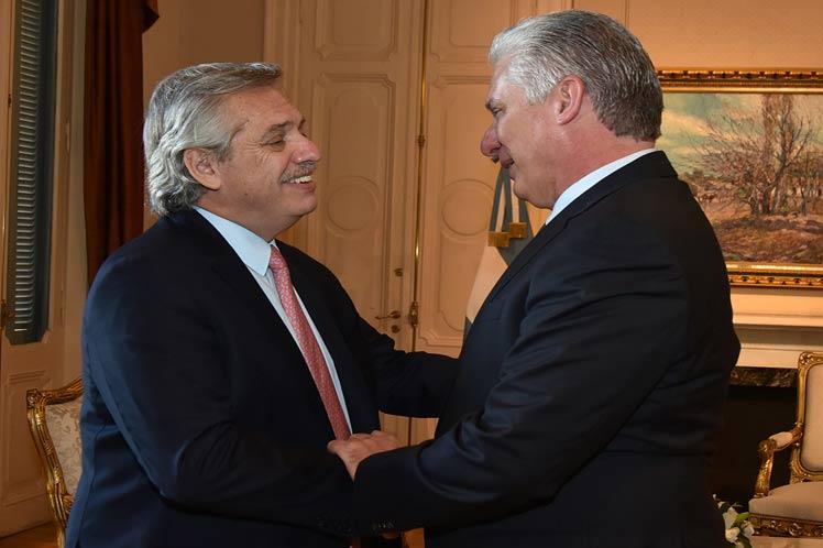 Presidente argentino recibió a Miguel Díaz-Canel (+fotos)