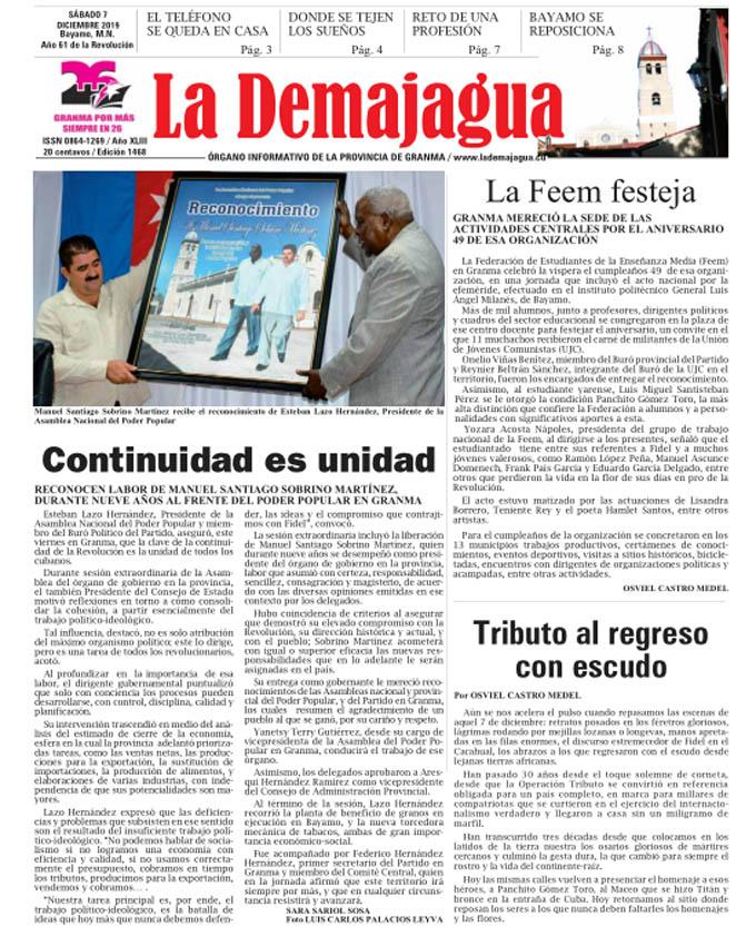 Edición impresa 1468, del semanario La Demajagua, sábado 7 de diciembre de 2019