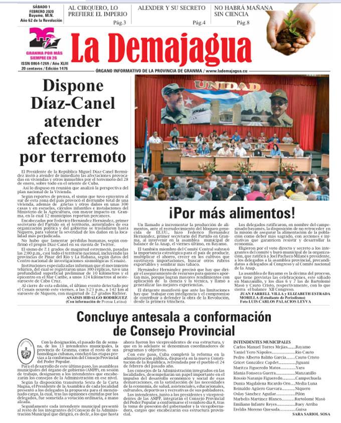 Edición impresa 1476 del semanario La Demajagua, sábado 1 de febrero de 2020