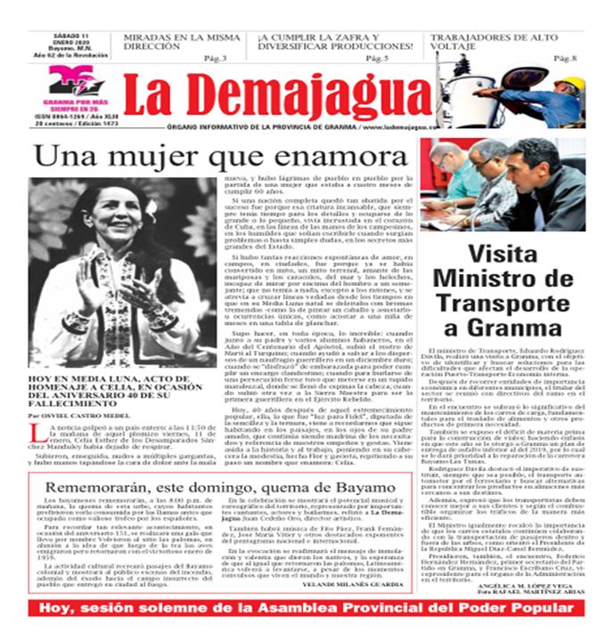 Edición impresa 1473 del semanario La Demajagua, sábado 11 de enero de 2020