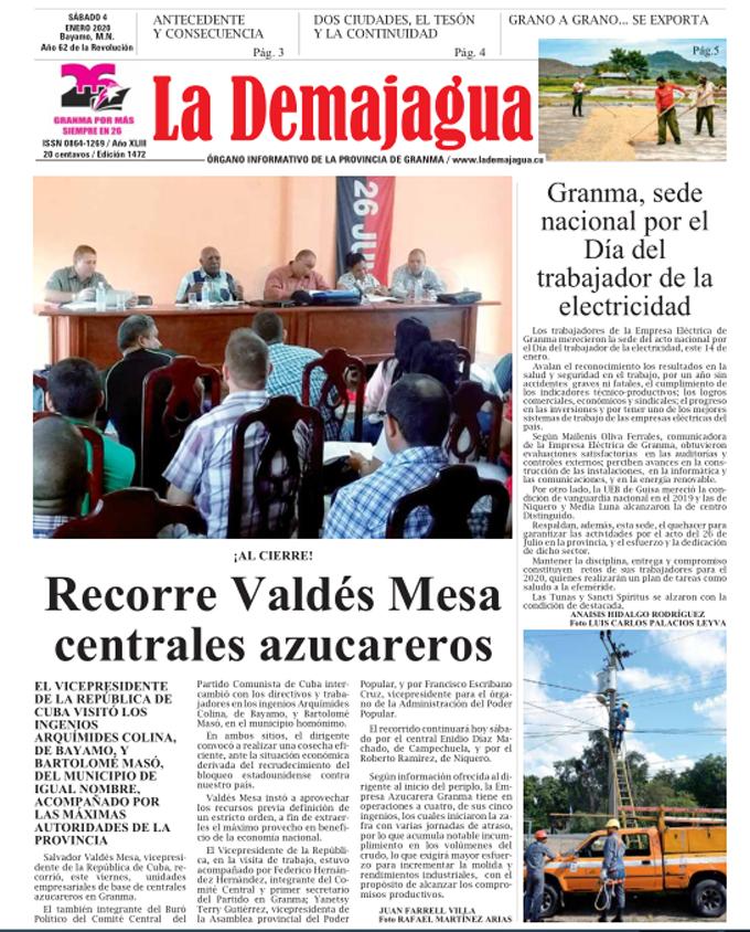 Edición impresa 1472 del semanario La Demajagua, sábado 4 enero de 2020
