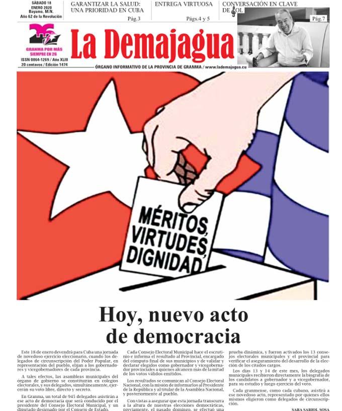 Edición impresa 1474 del semanario La Demajagua, sábado 18 de enero de 2020