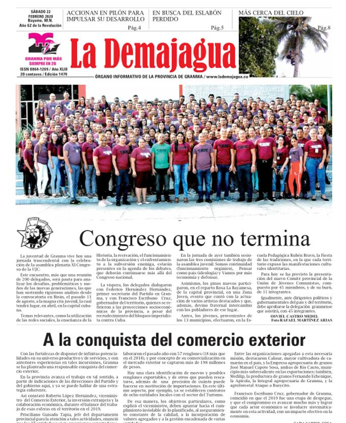 Edición impresa 1479 del semanario La Demajagua, sábado 22 de febrero de 2020