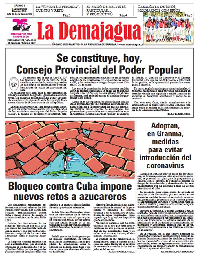 Edición impresa 1477 del semanario La Demajagua, sábado 8 de febrero de 2020