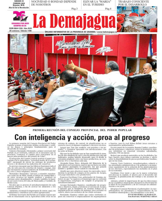 Edición impresa 1480 del semanario La Demajagua, sábado 29 de febrero de 2020