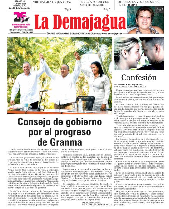 Edición impresa 1478 del semanario La Demajagua, sábado 15 de febrero de 2020
