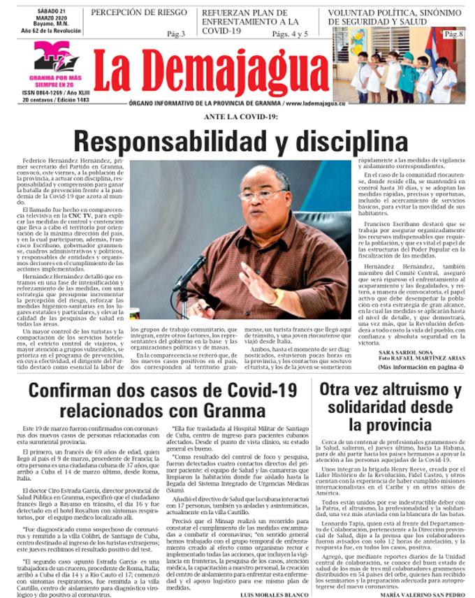 Edición impresa 1483 del semanario La Demajagua, sábado 21 de marzo de 2020