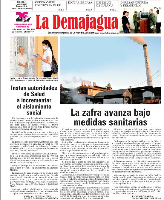 Edición impresa 1484 del semanario La Demajagua, sábado 28 de marzo de 2020
