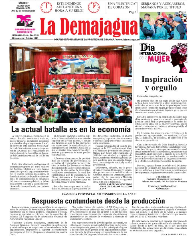 Edición impresa 1481 del semanario La Demajagua, sábado 7 de marzo de 2020