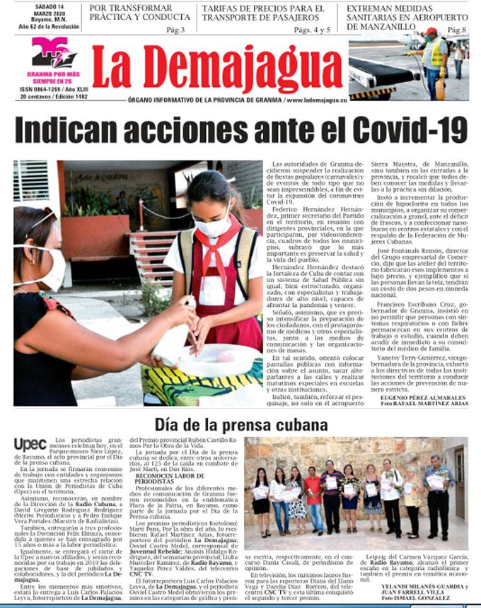 Edición impresa 1482 del semanario La Demagua, sábado 14 de marzo de 2020