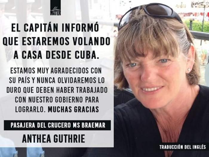 Pasajera del MS Braemar: «Gracias a Cuba por habernos abierto el corazón»