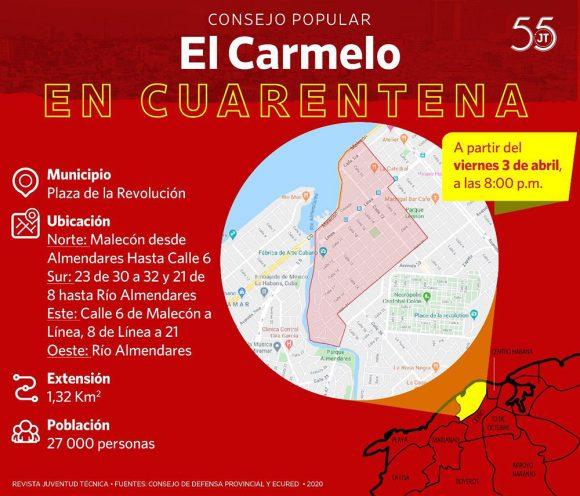 Consejo de Defensa Provincial de La Habana decide aislamiento del Consejo Popular Carmelo, en el Vedado