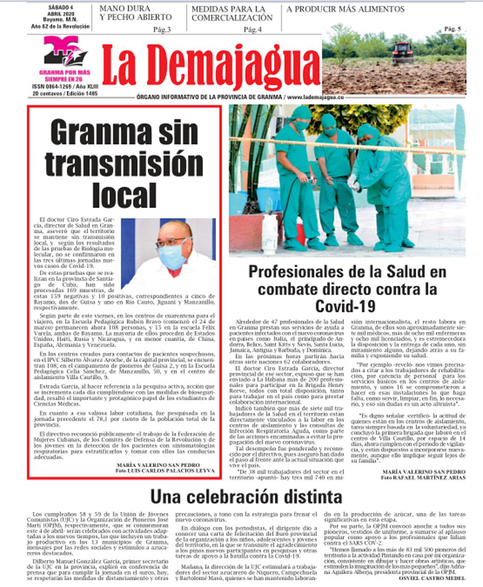 Edición impresa 1485 del semanario La Demajagua, sábado 4 de abril de 2020