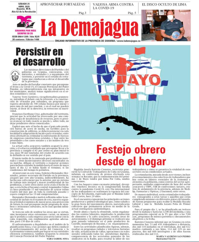 Edición impresa 1482, del semanario La Demajagua, sábado 25 de abril 2020