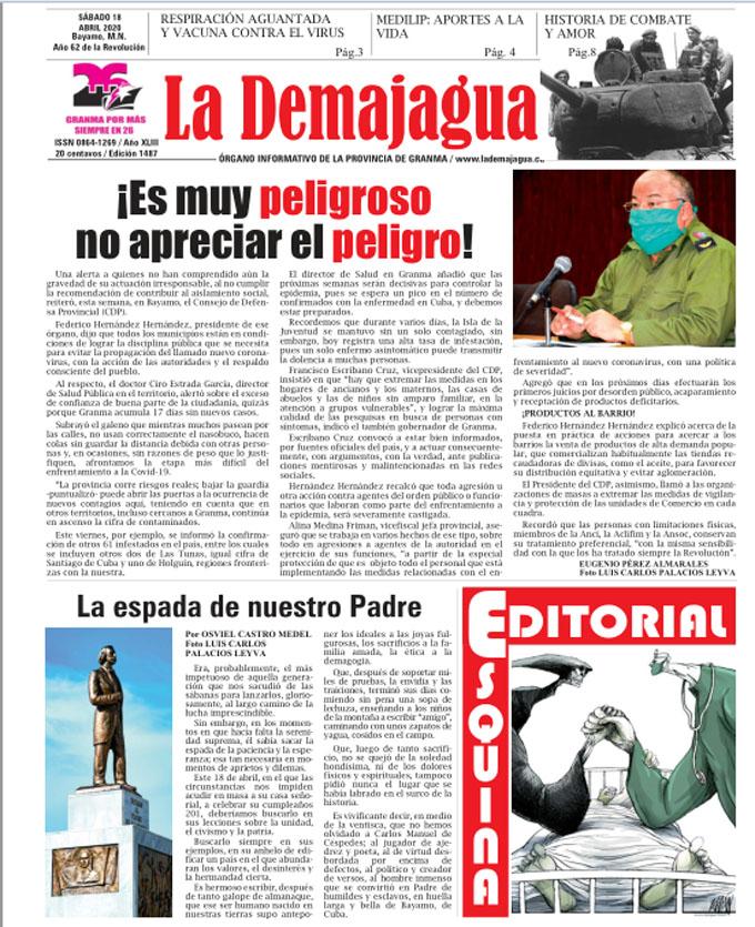 Edición impresa 1487 del semanario La Demajagua, sábado 18 de abril de 2020