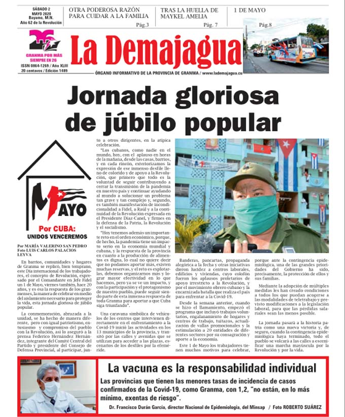 Edición impresa 1489 del semanario La Demajagua, sábado 2 de Mayo de 2020