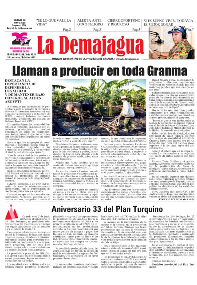 Edición impresa 1493 del semanario La Demajagua, sábado 30 de mayo de 2020