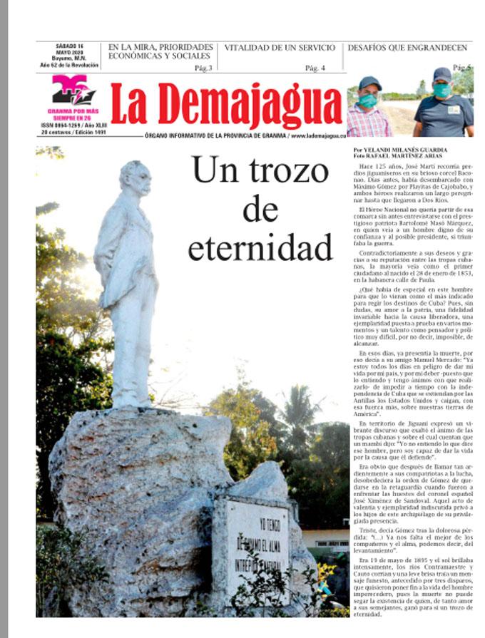 Edición impresa 1491 del semanario La Demajagua, sábado 16 de mayo de 2020