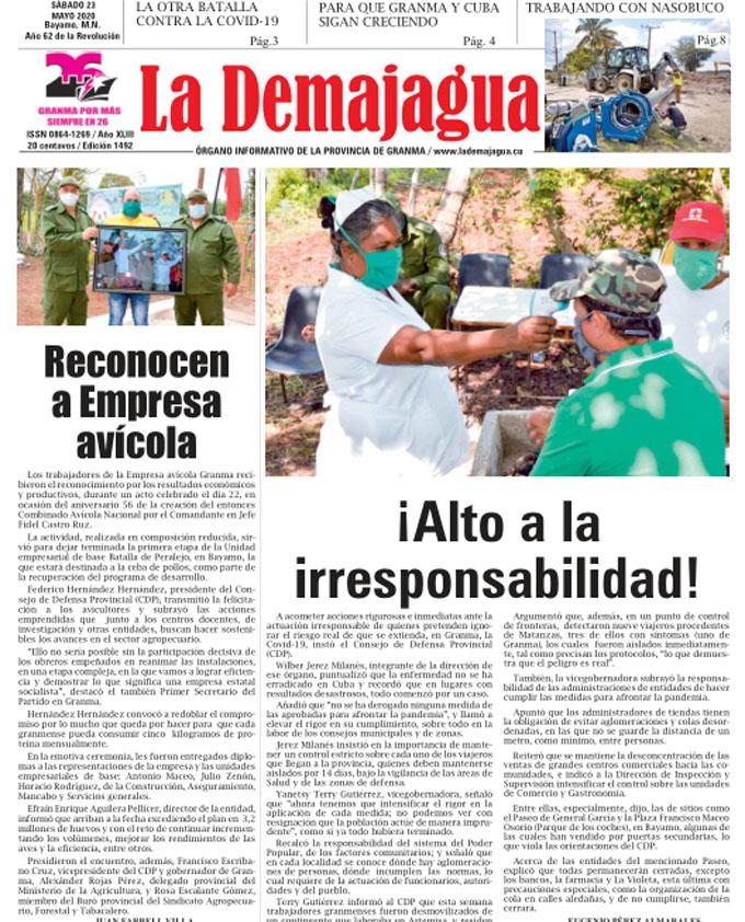 Edición impresa 1492 del semanario La Demajagua, sábado 23 de mayo de 2020
