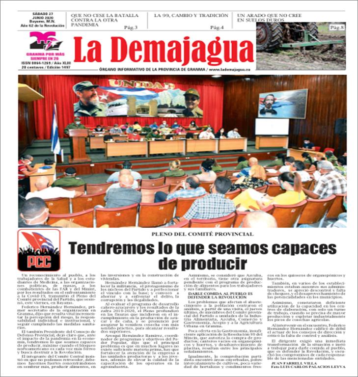 Edición impresa 1497 del semanario La Demajagua, sábado 27 de junio de 2020