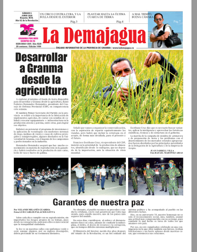 Edición impresa 1494 del semanario La Demajagua, sábado 6 de junio de 2020