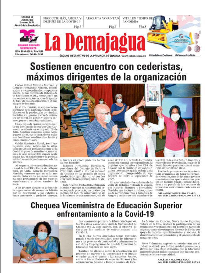 Edición impresa 1495 del semanario La Demajagua, sábado 13 de junio de 2020