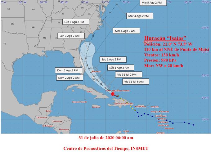 Tormenta tropical Isaías se convierte en huracán