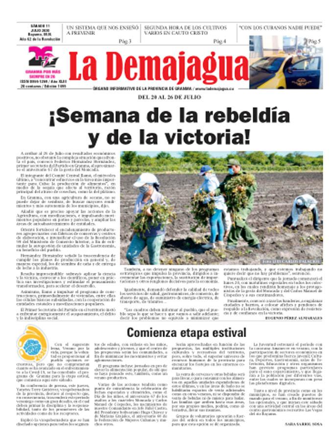 Edición impresa 1499 del semanario La Demajagua, sábado 11 de julio de 2020