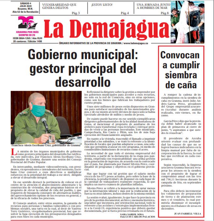 Edición impresa 1498 del semanario La Demajagua, sábado 4 de julio de 2020