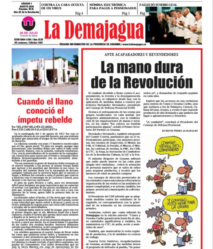 Edición impresa 1502 del semanario La Demajagua, sábado 1 de agosto de 2020