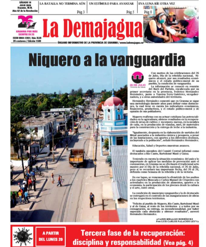 Edición impresa 1500 del semanario La Demajagua, sábado 18 de julio de 2020