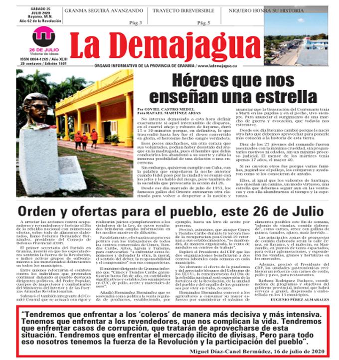Edición impresa 1501 del semanario La Demajagua, sábado 25 de julio de 2020
