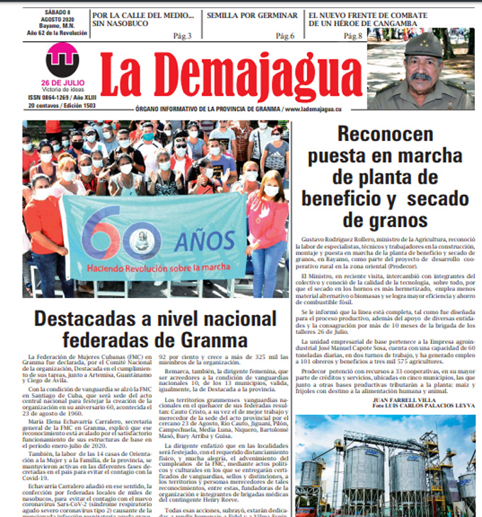 Edición impresa 1503 del semanario La Demajagua, sábado 8 de agosto de 2020
