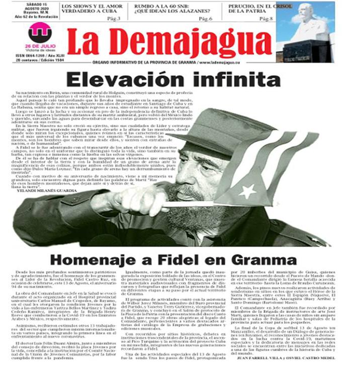 Edición impresa 1504 del semanario La Demajagua, sábado 15 de agosto de 2020