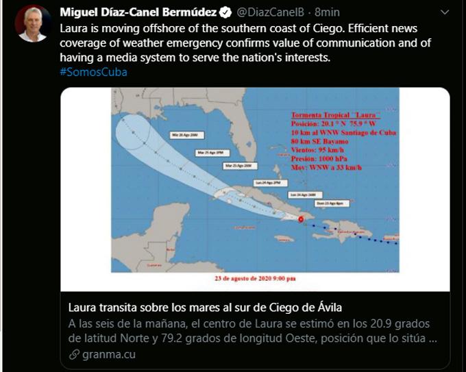 Presidente de Cuba exhorta a unidad y talento frente a tormenta Laura