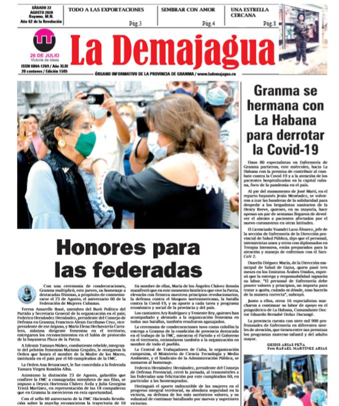 Edición impresa 1505 del semanario La Demajagua, sábado 22 de agosto de 2020