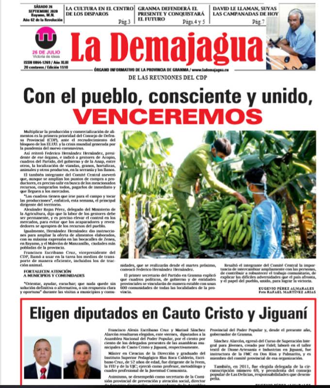 Edición impresa 1510 del semanario La Demajagua, sábado 26 de septiembre de 2020