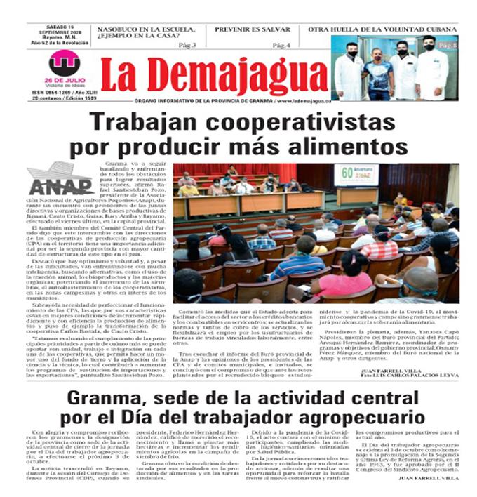 Edición impresa 1509 del semanario La Demajagua, sábado 19 de septiembre de 2020