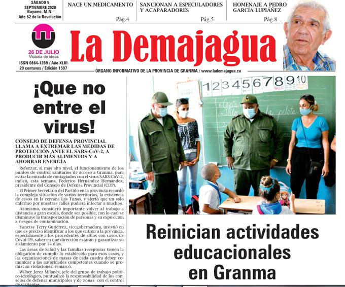 Edición impresa 1507 del semanario La Demajagua, sábado 5 de septiembre de 2020