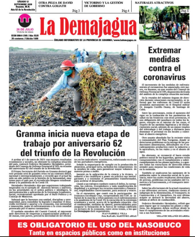 Edición impresa 1508 del semanario La Demajagua, sábado 12 de septiembre de 2020