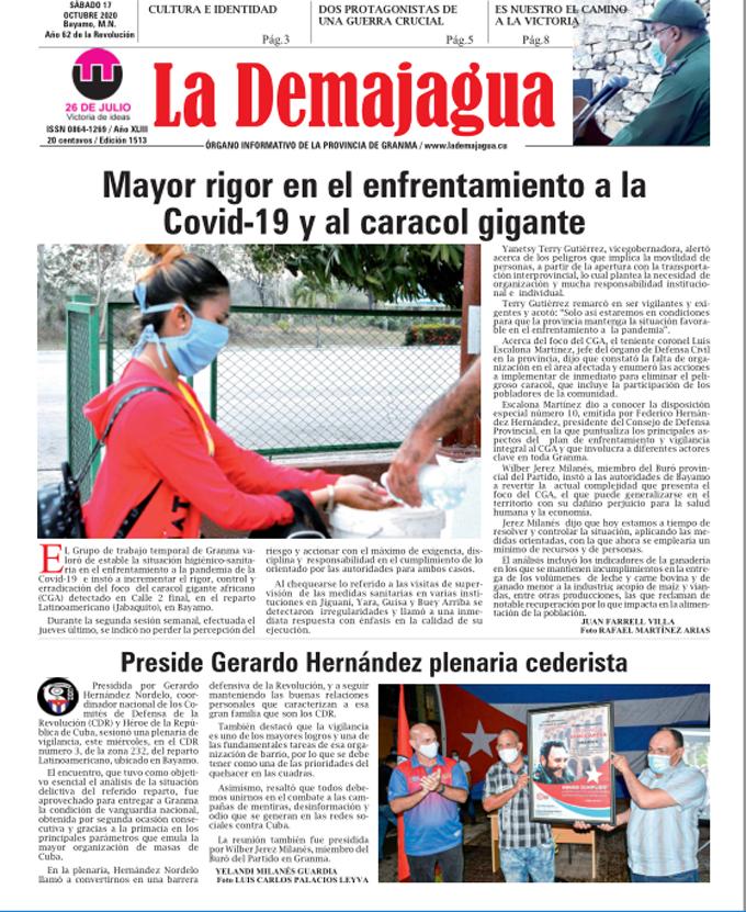 Edición impresa 1513 del semanario La Demajagua, sábado 17 de octubre de 2020