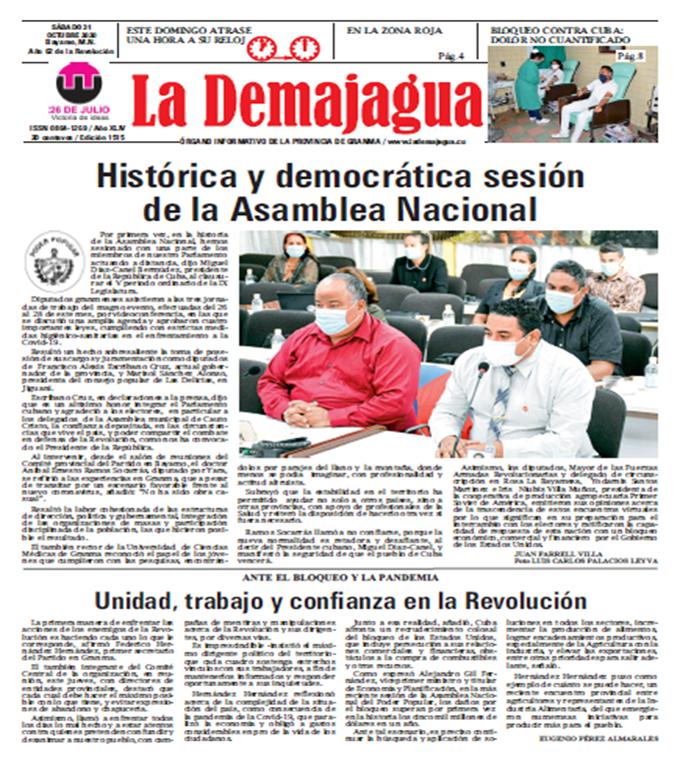 La edición impresa 1515 del semanario La Demajagua, sábado 31 de octubre de 2020.