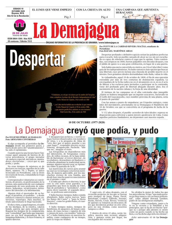 Edición impresa 1512 del semanario La Demajagua, sábado 10 de octubre de 2020