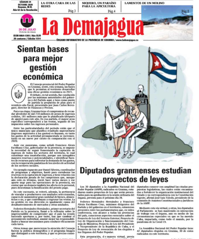 Edición impresa 1514 del semanario La Demajagua, sábado 24 de octubre de 2020
