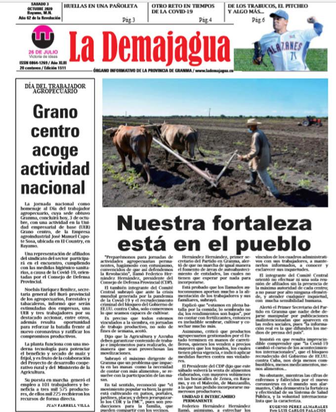 Edición impresa 1511 del semanario La Demajagua, sábado 3 de octubre de 2020