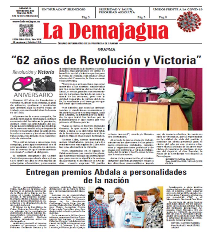 Edición impresa 1519 del semanario La Demajagua, sábado 28 de noviembre de 2020