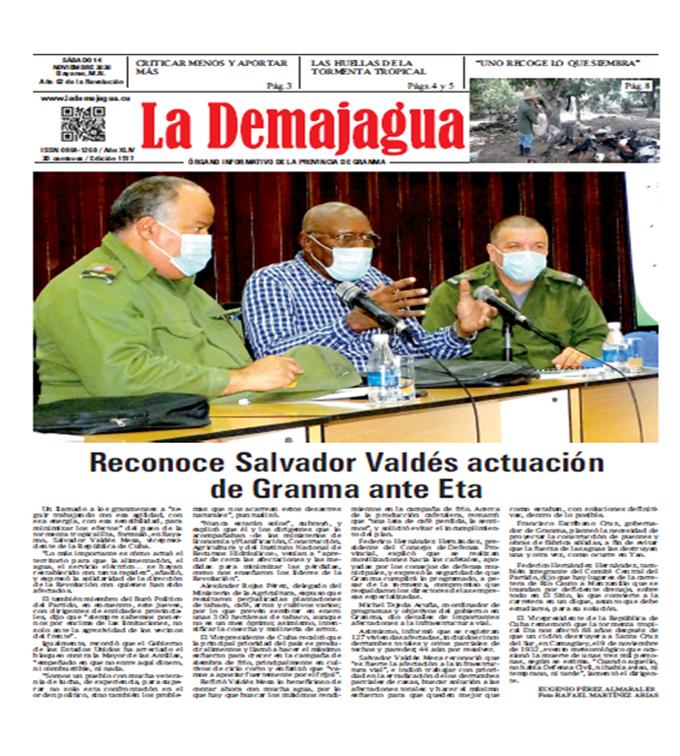Edición impresa 1517 del semanario La Demajagua, sábado 14 de noviembre de 2020