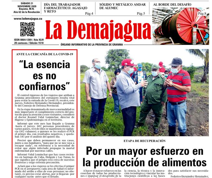 Edición impresa 1518 del semanario La Demajagua, sábado 21 de noviembre de 2020